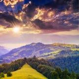 Koniferenwald auf einem steilen Berghang bei Sonnenuntergang Stockfoto