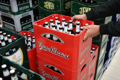 Konig Beer crates in a store Royalty Free Stock Image