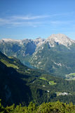 Konig see view and Bavarian alpine mountains Royalty Free Stock Image