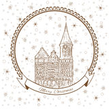 Konigsberg Cathedral, Landmark of the city of Kaliningrad, Russia, Vector Christmas greeting card with Cathedral Church. On Kant island, snowflake, Template Stock Photos