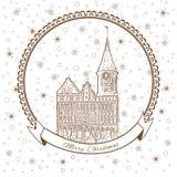 Konigsberg katedra, punkt zwrotny miasto Kaliningrad, Rosja, Wektorowy Bożenarodzeniowy kartka z pozdrowieniami z Katedralnym koś royalty ilustracja
