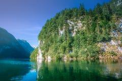 Konigsee湖在贝希特斯加登国家公园 免版税库存图片