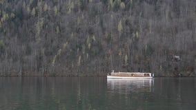 Konigsee boat view. Autumn alpine lake Konigsee boat view, Bavaria, Germany stock video