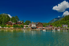 Konigsee-Dorfansicht vom Boot Lizenzfreie Stockbilder