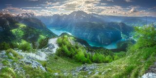 Konigsee lake in Berchtesgaden National Park. Beautiful view of the Konigsee lake near Jenner mount in Berchtesgaden National Park, Upper Bavarian Alps, Germany stock images