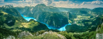 Konigsee lake in Berchtesgaden National Park. View of the Konigsee lake from Jenner mount in Berchtesgaden National Park, Upper Bavarian Alps, Germany, Europe stock photos