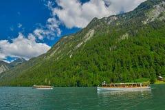 Konigsee Lake Boat Cruise. Boat Cruise on Picturesque Konigsee Lake in Bavaria, Germany royalty free stock image