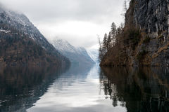 Konigsee lake. View from Konigsee lake, Berchtesgaden, Germany in the winter royalty free stock photos