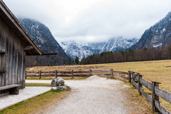 Konigsee lake. View from Konigsee lake, Berchtesgaden, Germany in the winter royalty free stock photo