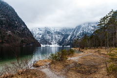 Konigsee lake. View from Konigsee lake, Berchtesgaden, Germany in the winter stock images