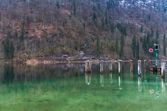 Konigsee lake. View from Konigsee lake, Berchtesgaden, Germany in the winter royalty free stock image