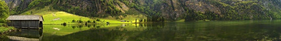Konigssee湖全景 库存照片