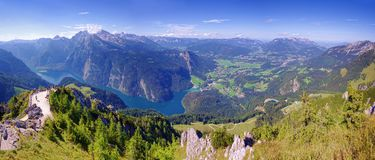 Konigssee lake in Germany Alps. Aerial view from Jenner peak panorama stock photography