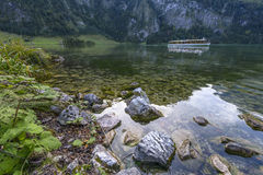 Konigssee with Ship in Autumn Royalty Free Stock Photography