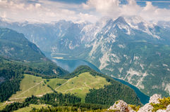 Konigssee View. View at Konigssee from the top Jenner Stock Photo