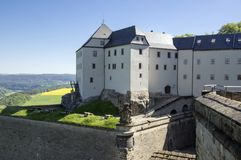 Konigstein Fortress, also called Saxon Bastille in hilltop historical fortress near Dresden in Saxon Switzerland in Germany. Surrounded by nature and Elbe royalty free stock photos