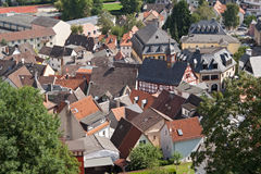 Konigstein old town. View from the castle ruins of the old district of konigstein Royalty Free Stock Image