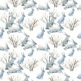 Konijn in de winter Waterverf naadloos patroon stock illustratie