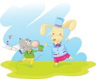 Konijn en muis Royalty-vrije Stock Afbeeldingen