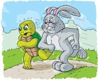 Konijn en schildpad het rennen royalty-vrije illustratie