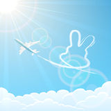 Konijn en vliegtuig in de hemel royalty-vrije illustratie