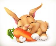 Konijn en wortelbeeldverhaalkarakter Grappig dieren vectorpictogram Stock Afbeeldingen