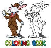 Konijn in het kostuum van een heren Kleurend boek Stock Afbeelding