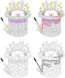 Konijn in hoedenlabyrint stock illustratie