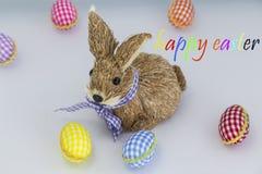 Konijn, konijntje, Kleurende eieren, geschilderde, blauwe gekleurde achtergrond, groen, geel, rood, oranje, Royalty-vrije Stock Afbeeldingen