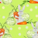 Konijn met groenten naadloos patroon Stock Afbeeldingen
