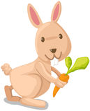 Konijn met wortel Stock Afbeelding