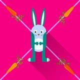 Konijn met wortelen vlak pictogram met lange schaduw, eps Stock Foto