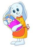 Konijn-moeder met het kind Royalty-vrije Stock Afbeelding