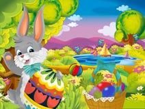 Konijn van beeldverhaal het gelukkige Pasen met mooi paasei op de achtergrond van de aardlente royalty-vrije stock afbeelding