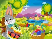 Konijn van beeldverhaal het gelukkige Pasen met mooi paasei op de achtergrond van de aardlente royalty-vrije stock afbeeldingen