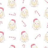 Konijnen die de hoeden van de Kerstman, leuk vector naadloos patroon op sneeuwachtergrond dragen royalty-vrije illustratie