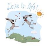 Konijnen en liefdeprentbriefkaar Stock Foto's