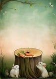 Konijnen en wortelen vector illustratie