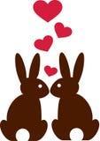 Konijnen in liefde met harten Stock Afbeelding