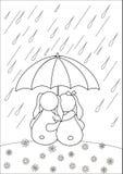 Konijnen onder paraplu, contouren Royalty-vrije Stock Foto