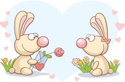 Konijnen op de Dag van de Valentijnskaart Stock Afbeelding