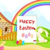 Konijntje die Gelukkige Pasen schilderen stock illustratie
