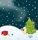 Konijntje en Kerstboom Stock Afbeeldingen