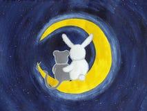 Konijntje en muis met gouache wordt geschilderd die Stock Foto