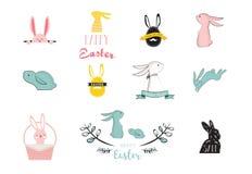 Konijntje, konijnen, leuke set van tekens, voor Pasen, jonge geitjes en babyt-shirts en groetkaarten Royalty-vrije Stock Afbeelding