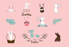 Konijntje, konijnen, leuke set van tekens, voor Pasen, jonge geitjes en babyt-shirts en groetkaarten Stock Afbeelding