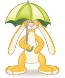 Konijntje met paraplu stock illustratie