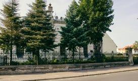 Konin, Poland. Historic synagogue of small Polish town called Konin. . Greater Poland province. Konin, Poland - July 22, 2017: View on detail of synagogue small Stock Images