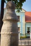 Konin, Pologne Le poteau le plus ancien - panneau routier en Pologne Une plus grande province de la Pologne Photographie stock libre de droits