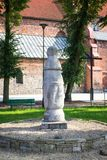 Konin, Polonia El polo más viejo - señal de tráfico en Polonia Mayor provincia de Polonia imagen de archivo